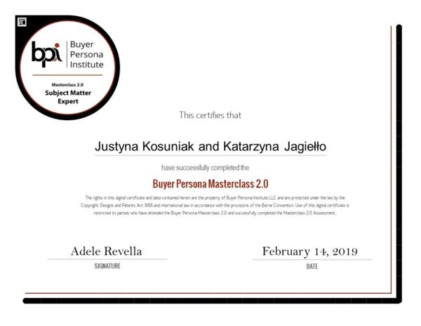 Certyfikat Buyer Persona Expert nadany przez Buyer Persona Institute